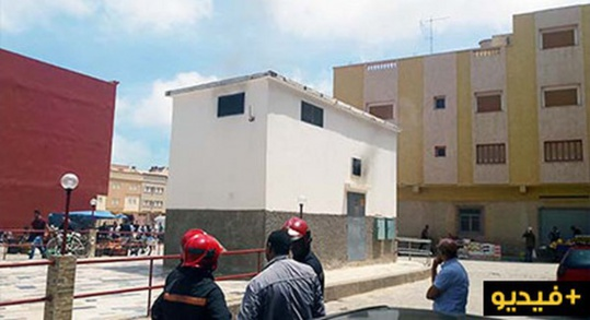اندلاع حريق مهول في محول كهربائي قرب مسجد لعراصي بالناظور/ فيديو