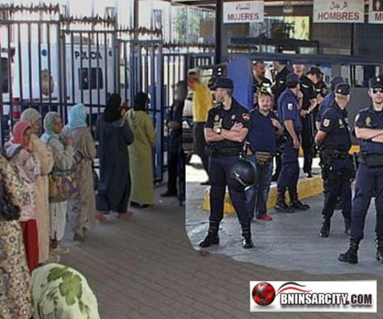 الشرطة الإسبانية المكلفة بحراسة الحدود بين مليلية ومعبري بني انصار وباريو تشينو لم تسمح للمغارة  بدخول الثغر المحتل