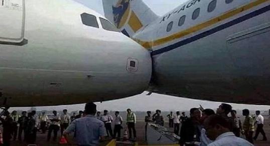 حادث اصطدام بين طائرة مغربية وأخرى تركية/ فيديو