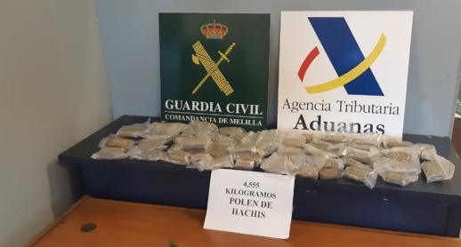 الحرس المدني بمليلية: يوقف مواطن فرنسي حاول تهريب 4.5 كيلوغرام من الحشيش المغربي
