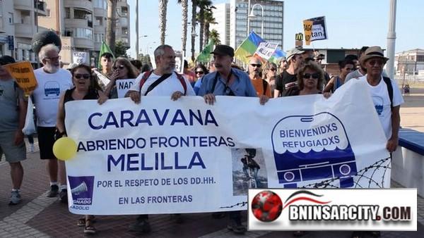 Melilla se muere/manifestado en el centro de Melilla para reclamar más fluidez en los pasos fronterizos con Marruecos.