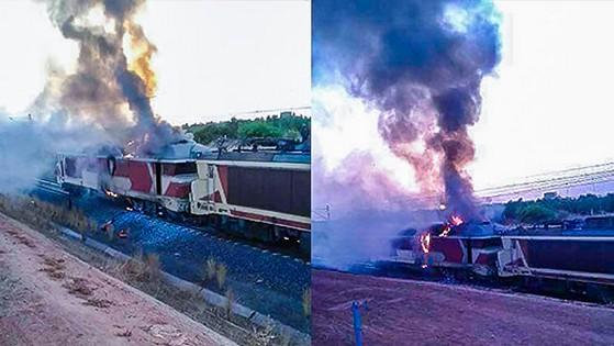 حريق مهول بالقطار الذي يربط مدينة طنجة بمدينة وجدة