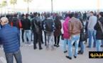 احتجاج  طلبة كلية سلوان امام عمالة الناظور من اجل المطالبة بحل مشكل النقل الحضري/فيديو