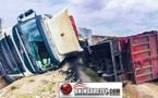 """حادثة سير: انقلاب شاحنة كبيرة محملة بمادة """"الزفت""""  بالقرب من الحي الصناعي بمدينة سلوان"""