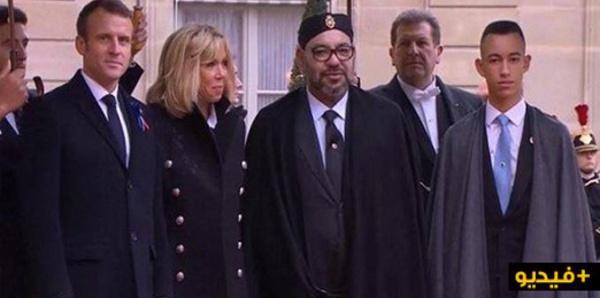 الملك محمد السادس وولي العهد مولاي الحسن في احتفال فرنسا بمئوية الحرب العالمية الأولى/ فيديو